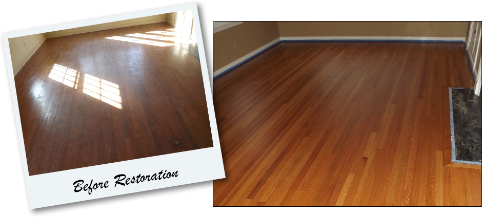 Before and After Hardwood Restoration at Abbey Van Dam Carpet and More in Marrysville