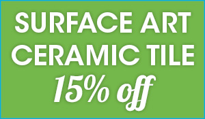 Suface Art ceramic tile 15% off this month at Abbey Van Dam Carpet and More