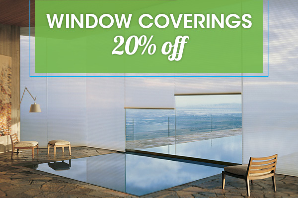 Window coverings 20% OFF this month at Abbey Van Dam Carpet and More in Marysville
