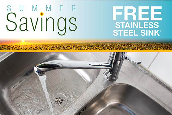 Free stainless steel sink this month only!  See store for details.