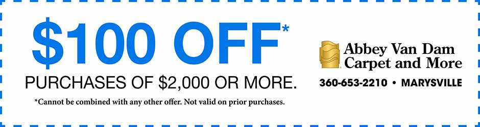 $100 off purchases of $2,000 or more