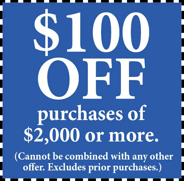 Take $100 Off purchase of $2000 or more at Abbey Van Dam Carpet in Marysville.