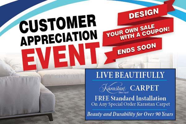 Free standard installation on special order Karastan carpet this month at Abbey Vandam Carpet in Marysville.